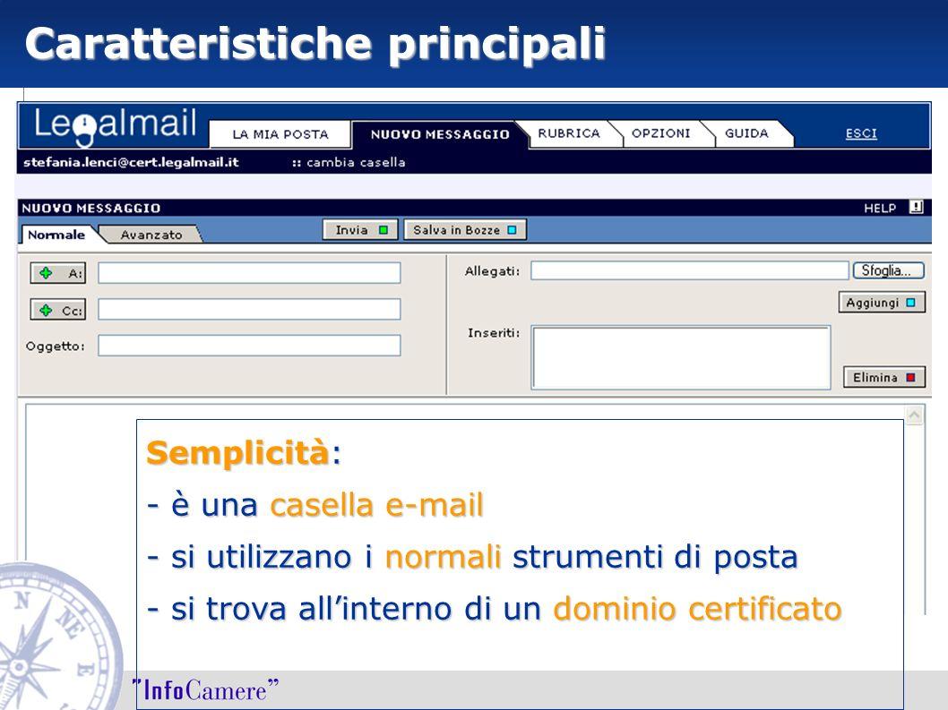 Caratteristiche principali Semplicità: - è una casella e-mail - si utilizzano i normali strumenti di posta - si trova allinterno di un dominio certifi