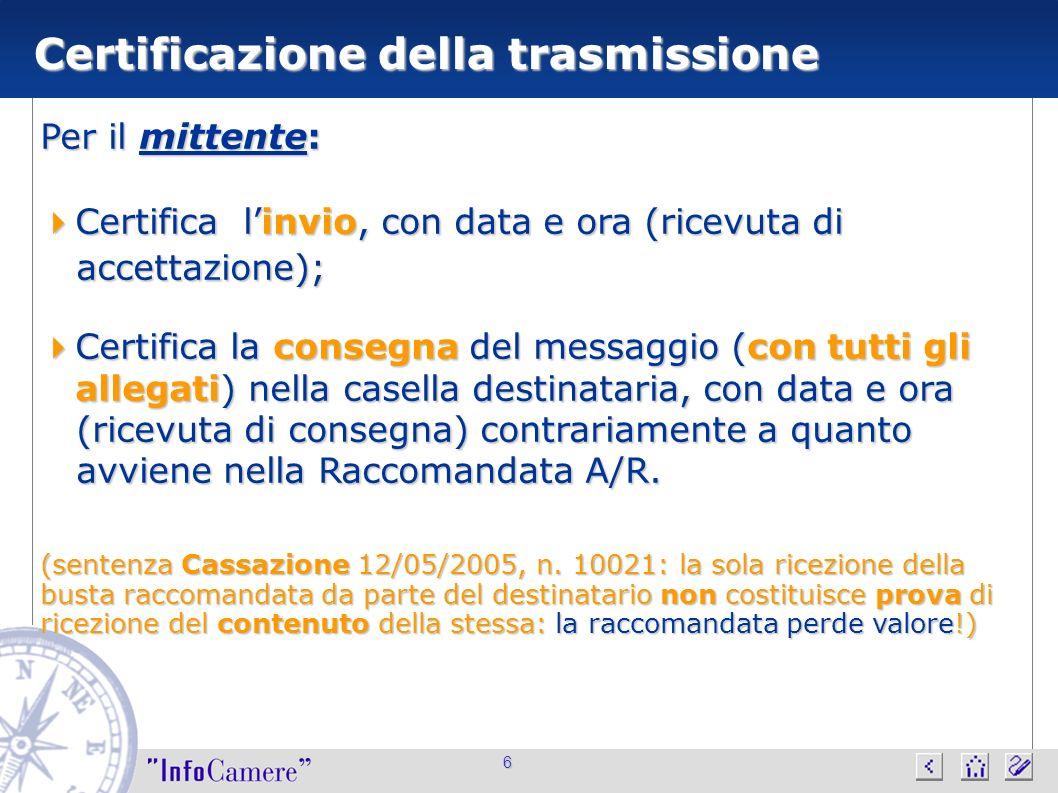 6 Certificazione della trasmissione Per il mittente: Certifica linvio, con data e ora (ricevuta di Certifica linvio, con data e ora (ricevuta di accet