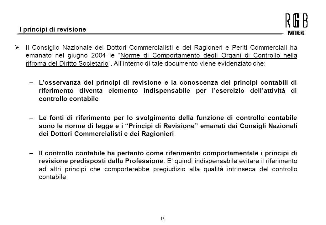 13 Il Consiglio Nazionale dei Dottori Commercialisti e dei Ragioneri e Periti Commerciali ha emanato nel giugno 2004 le Norme di Comportamento degli O