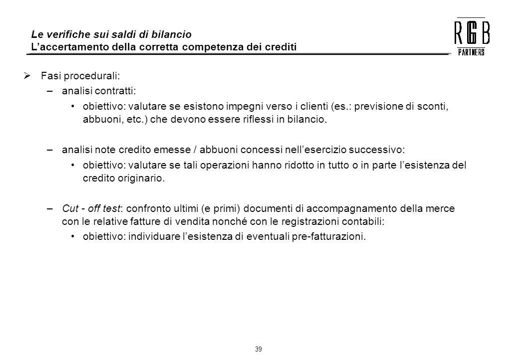 39 Le verifiche sui saldi di bilancio Laccertamento della corretta competenza dei crediti Fasi procedurali: –analisi contratti: obiettivo: valutare se