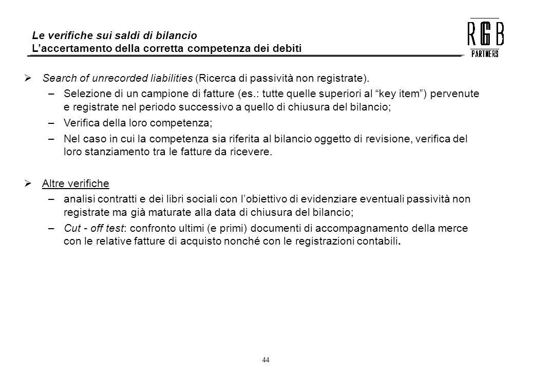 44 Le verifiche sui saldi di bilancio Laccertamento della corretta competenza dei debiti Search of unrecorded liabilities (Ricerca di passività non re