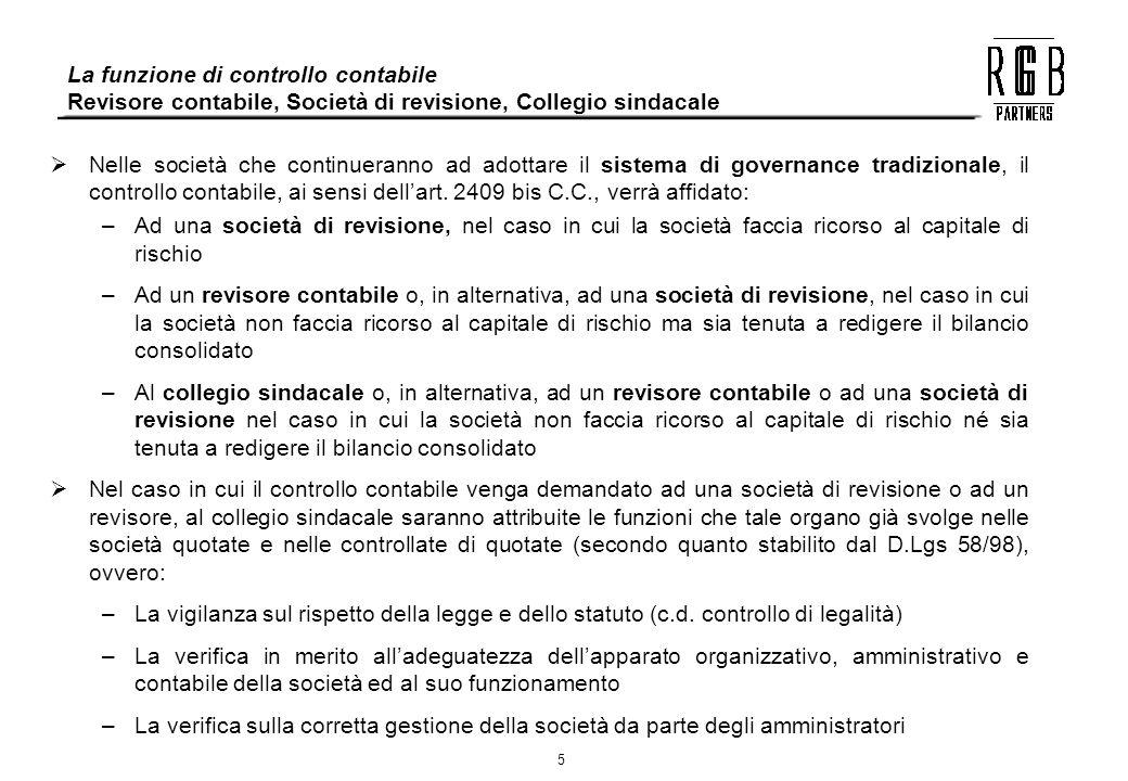 5 La funzione di controllo contabile Revisore contabile, Società di revisione, Collegio sindacale Nelle società che continueranno ad adottare il siste