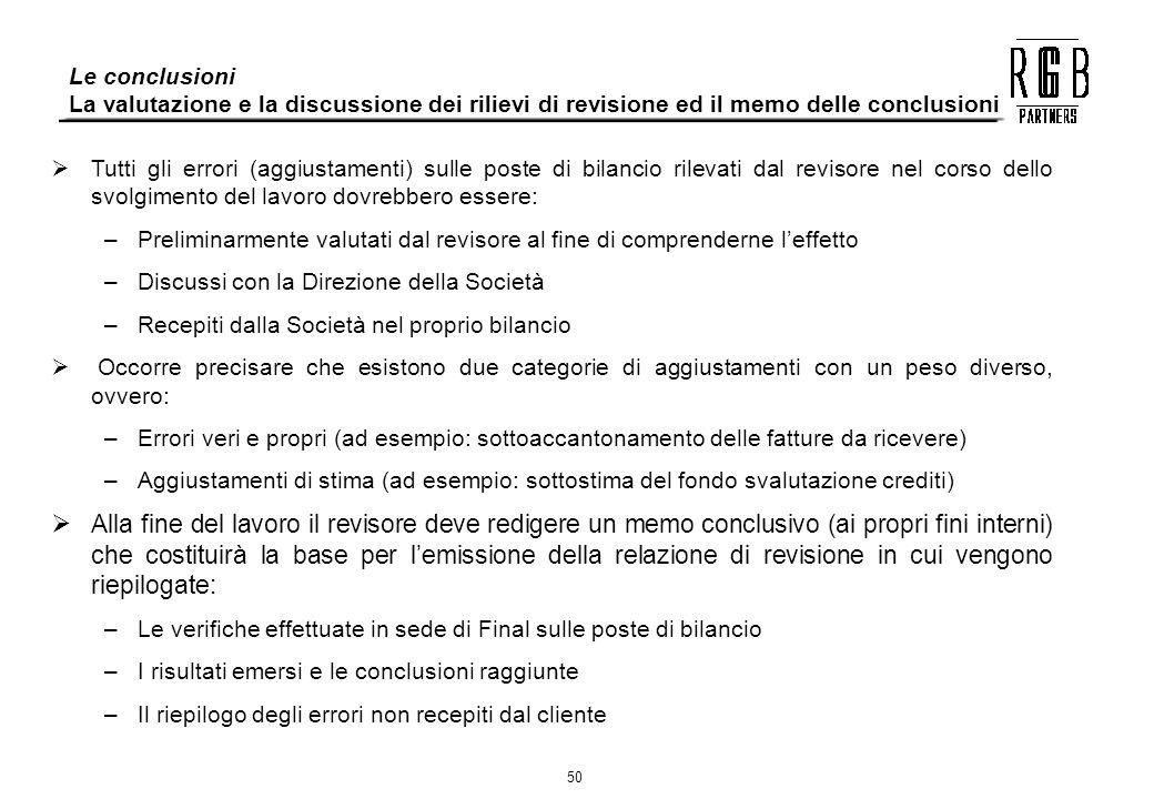 50 Tutti gli errori (aggiustamenti) sulle poste di bilancio rilevati dal revisore nel corso dello svolgimento del lavoro dovrebbero essere: –Prelimina