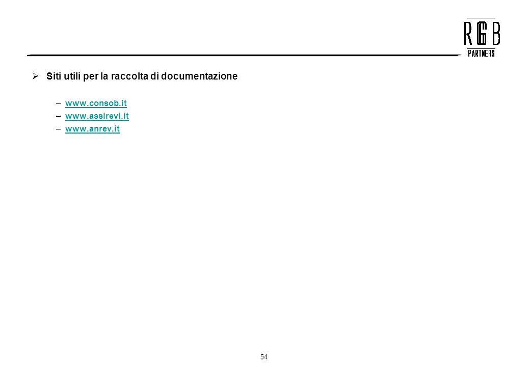54 Siti utili per la raccolta di documentazione –www.consob.itwww.consob.it –www.assirevi.itwww.assirevi.it –www.anrev.itwww.anrev.it