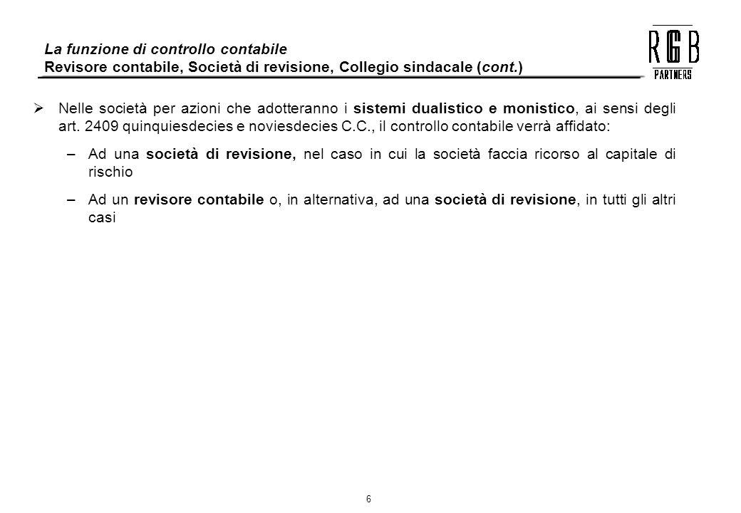 6 La funzione di controllo contabile Revisore contabile, Società di revisione, Collegio sindacale (cont.) Nelle società per azioni che adotteranno i s