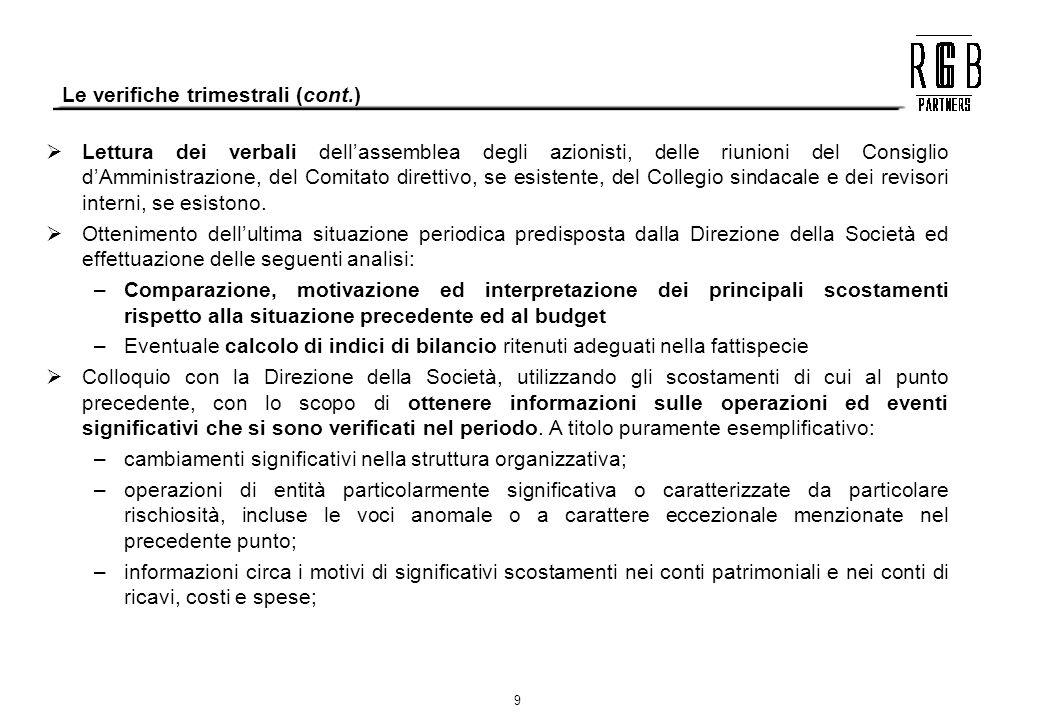 9 Le verifiche trimestrali (cont.) Lettura dei verbali dellassemblea degli azionisti, delle riunioni del Consiglio dAmministrazione, del Comitato dire