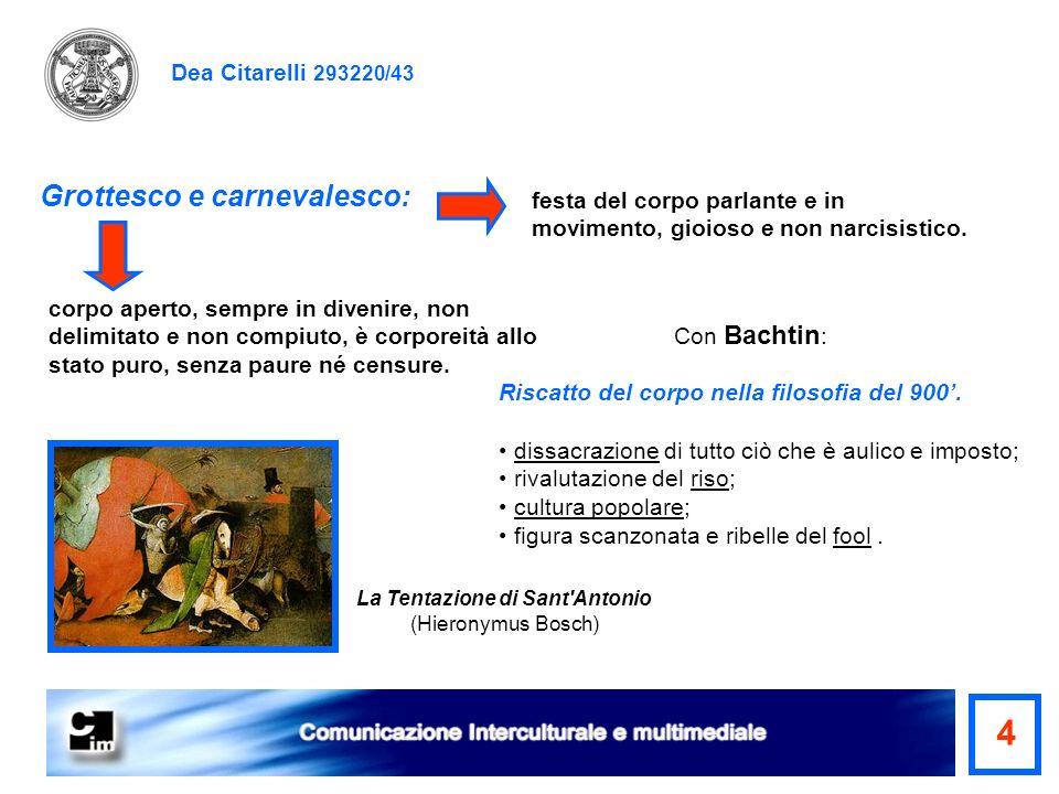 Dea Citarelli 293220/43 Grottesco e carnevalesco: La Tentazione di Sant'Antonio (Hieronymus Bosch) dissacrazione di tutto ciò che è aulico e imposto;