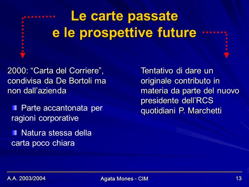 A.A. 2003/2004 Agata Mones - CIM 13 Le carte passate 2000: Carta del Corriere, condivisa da De Bortoli ma non dallazienda Tentativo di dare un origina