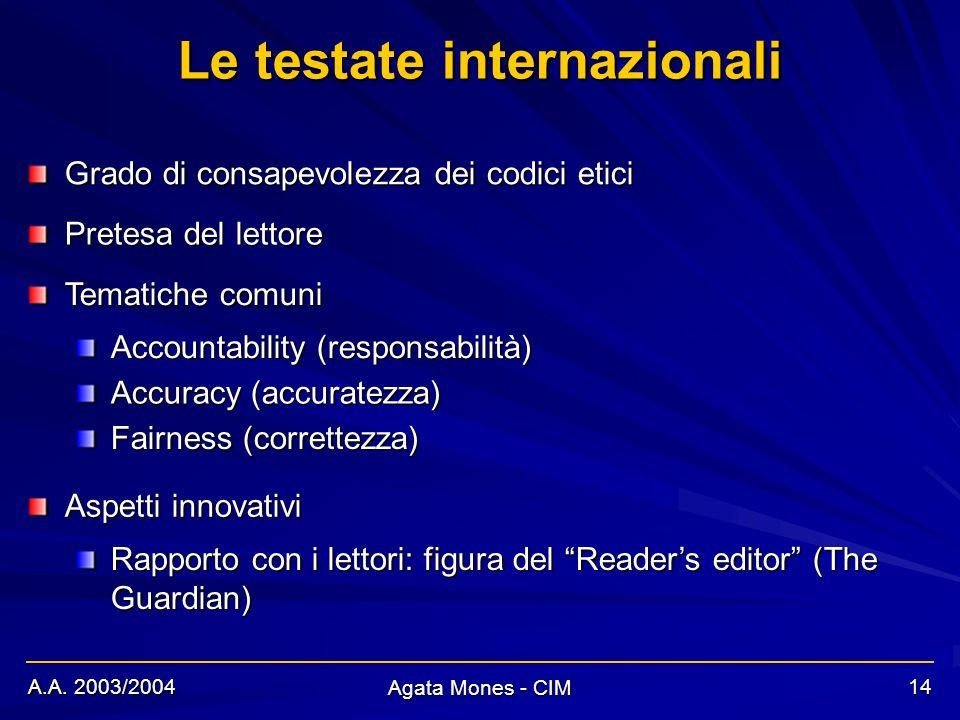 A.A. 2003/2004 Agata Mones - CIM 14 Le testate internazionali Grado di consapevolezza dei codici etici Accountability (responsabilità) Pretesa del let
