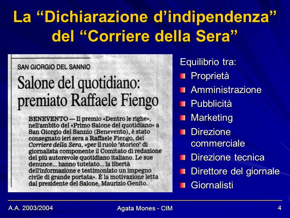 A.A. 2003/2004 Agata Mones - CIM 4 La Dichiarazione dindipendenza del Corriere della Sera Equilibrio tra: ProprietàAmministrazionePubblicitàMarketing