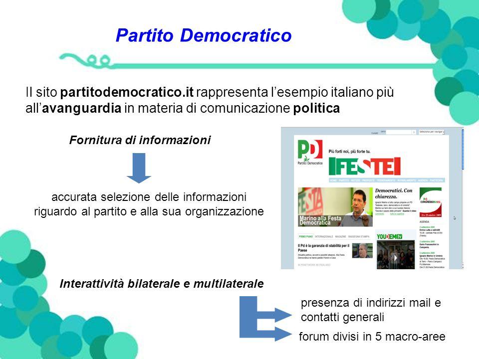 Partito Democratico Il sito partitodemocratico.it rappresenta lesempio italiano più allavanguardia in materia di comunicazione politica Fornitura di informazioni accurata selezione delle informazioni riguardo al partito e alla sua organizzazione Interattività bilaterale e multilaterale presenza di indirizzi mail e contatti generali forum divisi in 5 macro-aree