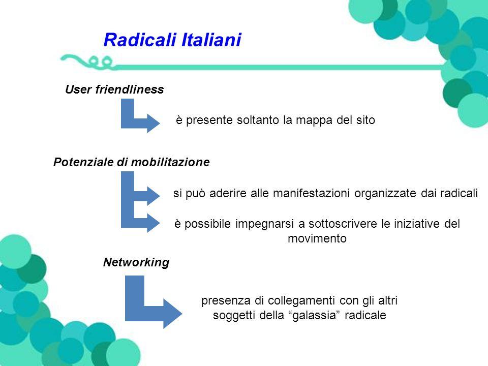 Radicali Italiani User friendliness è presente soltanto la mappa del sito Potenziale di mobilitazione si può aderire alle manifestazioni organizzate dai radicali è possibile impegnarsi a sottoscrivere le iniziative del movimento Networking presenza di collegamenti con gli altri soggetti della galassia radicale