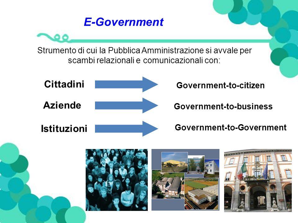 E-Government Strumento di cui la Pubblica Amministrazione si avvale per scambi relazionali e comunicazionali con: Cittadini Government-to-citizen Aziende Government-to-business Istituzioni Government-to-Government