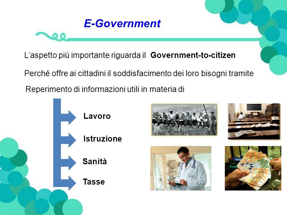 E-Government Laspetto più importante riguarda il Government-to-citizen Perché offre ai cittadini il soddisfacimento dei loro bisogni tramite Reperimento di informazioni utili in materia di Lavoro Istruzione Sanità Tasse