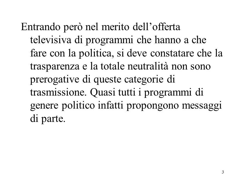 24 Ma lelemento principale che palesa la partigianeria politica di un programma televisivo è sicuramente il comportamento adottato dal suo conduttore.