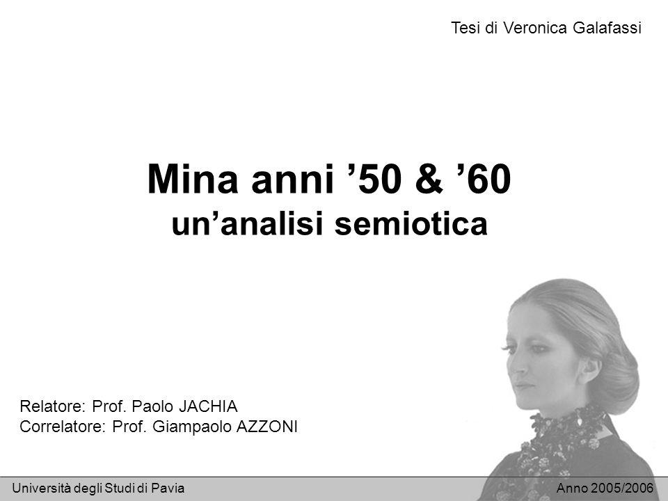 Mina anni 50 & 60 unanalisi semiotica Università degli Studi di PaviaAnno 2005/2006 Relatore: Prof. Paolo JACHIA Correlatore: Prof. Giampaolo AZZONI T