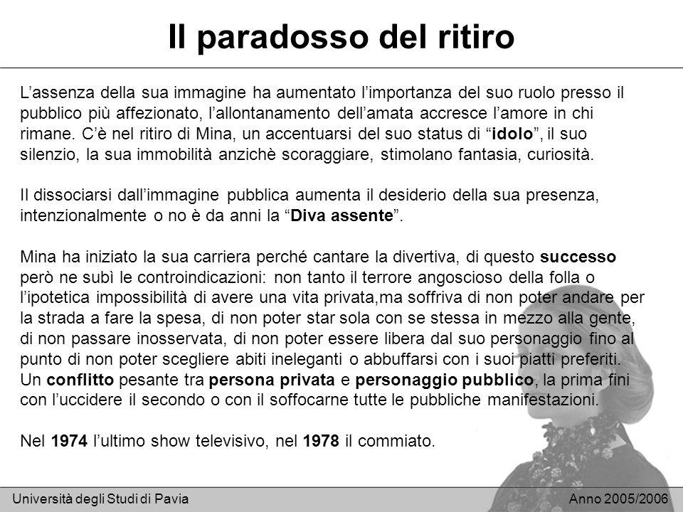 Il paradosso del ritiro Università degli Studi di PaviaAnno 2005/2006 Lassenza della sua immagine ha aumentato limportanza del suo ruolo presso il pub