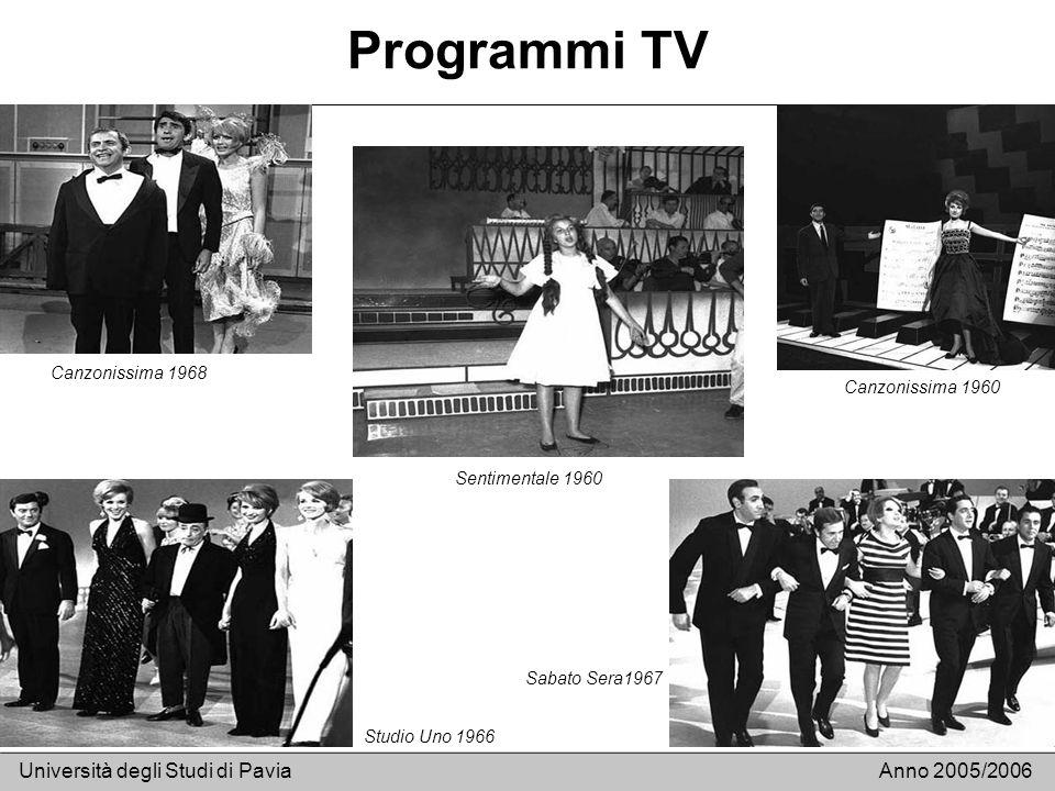 Programmi TV Università degli Studi di PaviaAnno 2005/2006 Canzonissima 1968 Studio Uno 1966 Sentimentale 1960 Canzonissima 1960 Sabato Sera1967