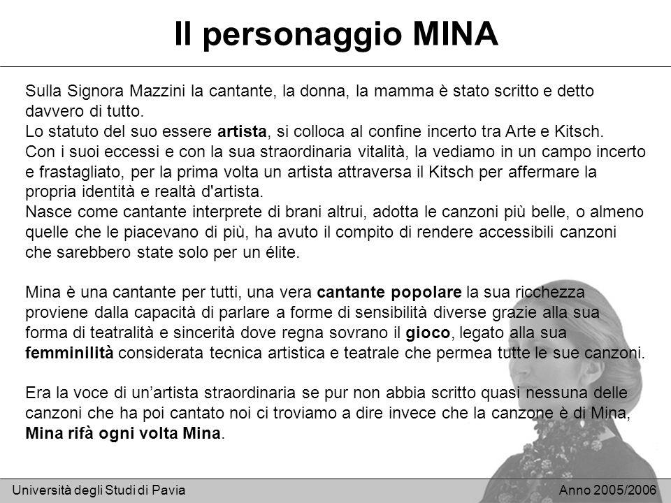 Il personaggio MINA Università degli Studi di PaviaAnno 2005/2006 Sulla Signora Mazzini la cantante, la donna, la mamma è stato scritto e detto davver