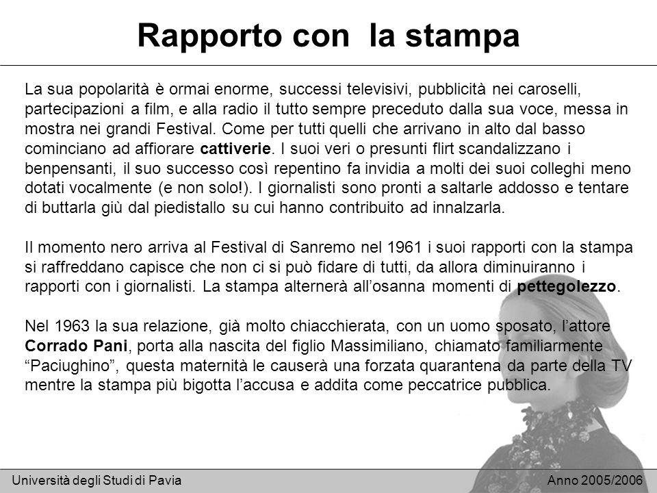 Rapporto con la stampa Università degli Studi di PaviaAnno 2005/2006 La sua popolarità è ormai enorme, successi televisivi, pubblicità nei caroselli,