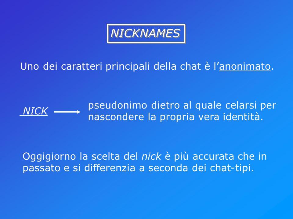 NICKNAMES Uno dei caratteri principali della chat è lanonimato. NICK pseudonimo dietro al quale celarsi per nascondere la propria vera identità. Oggig