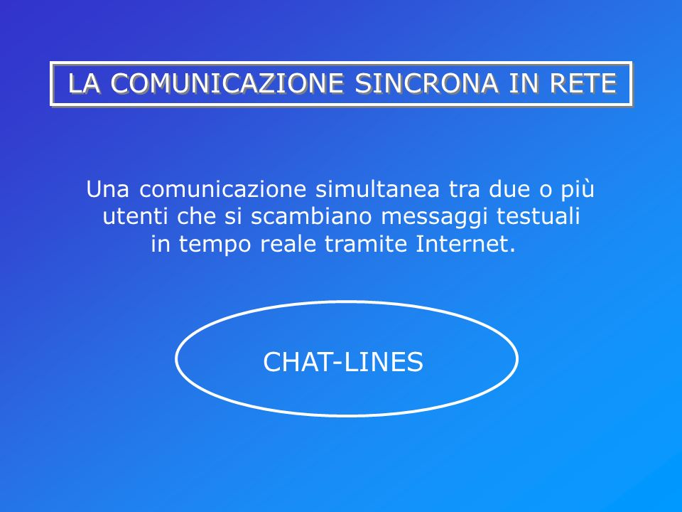 LA COMUNICAZIONE SINCRONA IN RETE Una comunicazione simultanea tra due o più utenti che si scambiano messaggi testuali in tempo reale tramite Internet