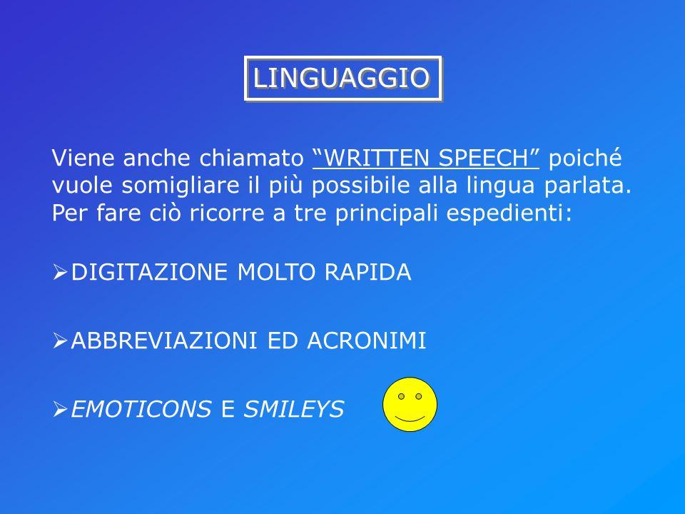 LINGUAGGIO Viene anche chiamato WRITTEN SPEECH poiché vuole somigliare il più possibile alla lingua parlata. Per fare ciò ricorre a tre principali esp