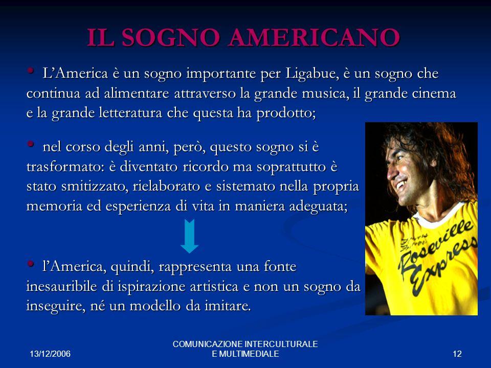13/12/2006 12 COMUNICAZIONE INTERCULTURALE E MULTIMEDIALE IL SOGNO AMERICANO LAmerica è un sogno importante per Ligabue, è un sogno che continua ad al