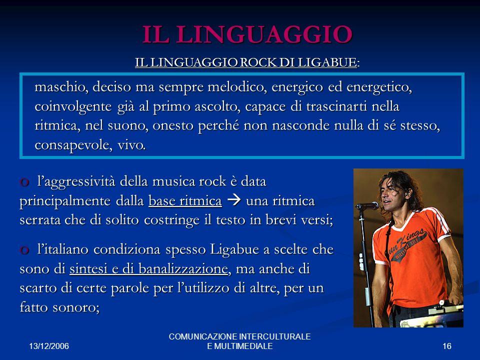 13/12/2006 16 COMUNICAZIONE INTERCULTURALE E MULTIMEDIALE IL LINGUAGGIO maschio, deciso ma sempre melodico, energico ed energetico, coinvolgente già a