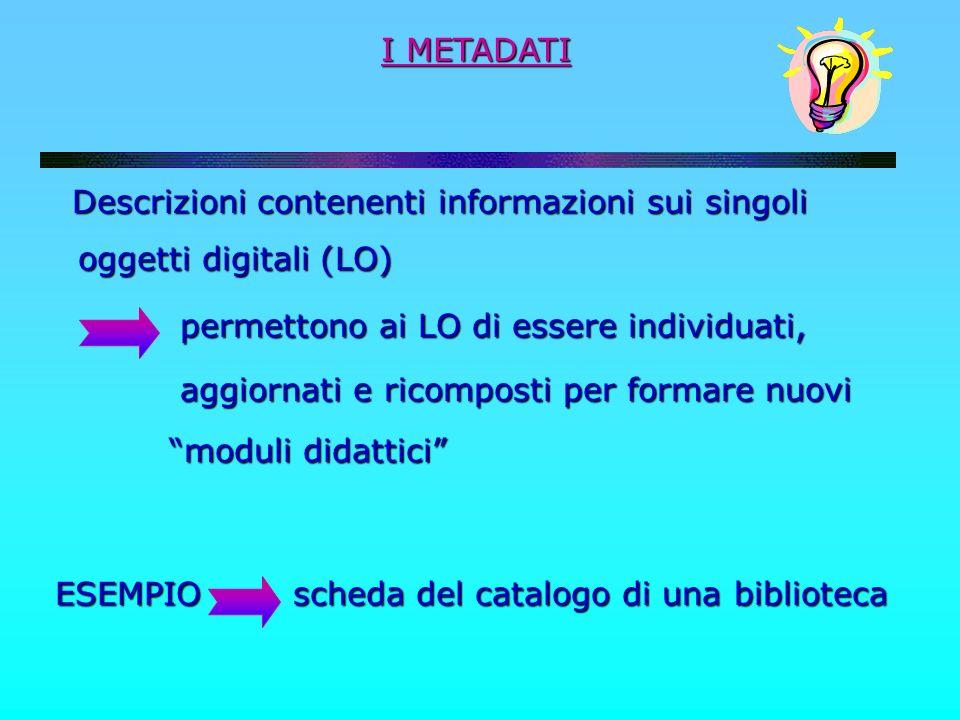 I METADATI Descrizioni contenenti informazioni sui singoli Descrizioni contenenti informazioni sui singoli oggetti digitali (LO) oggetti digitali (LO)