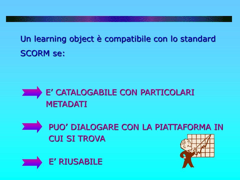 Un learning object è compatibile con lo standard Un learning object è compatibile con lo standard SCORM se: SCORM se: E CATALOGABILE CON PARTICOLARI E