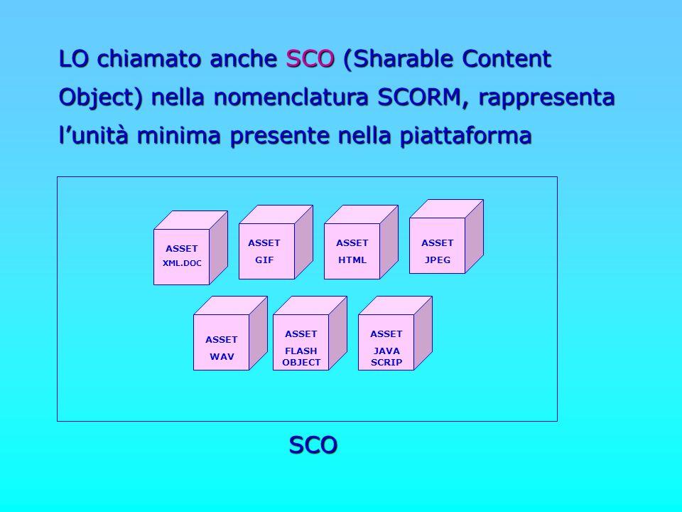 ASSET XML.DOC ASSET GIF ASSET HTML ASSET JPEG ASSET WAV ASSET FLASH OBJECT ASSET JAVA SCRIP SCO LO chiamato anche SCO (Sharable Content Object) nella