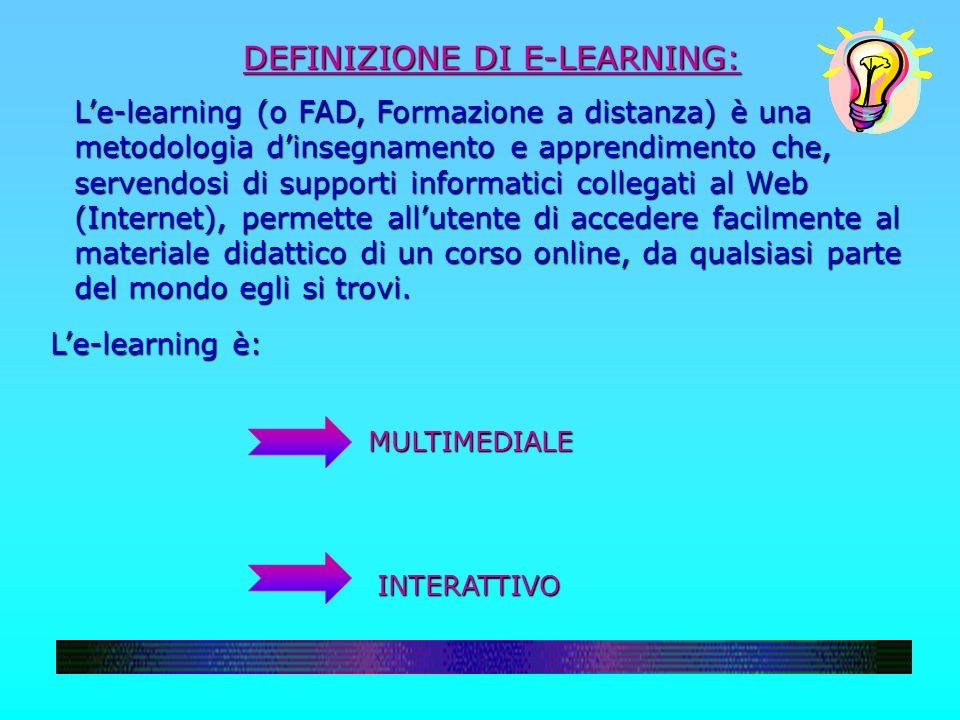 DEFINIZIONE DI E-LEARNING: Le-learning (o FAD, Formazione a distanza) è una metodologia dinsegnamento e apprendimento che, servendosi di supporti info