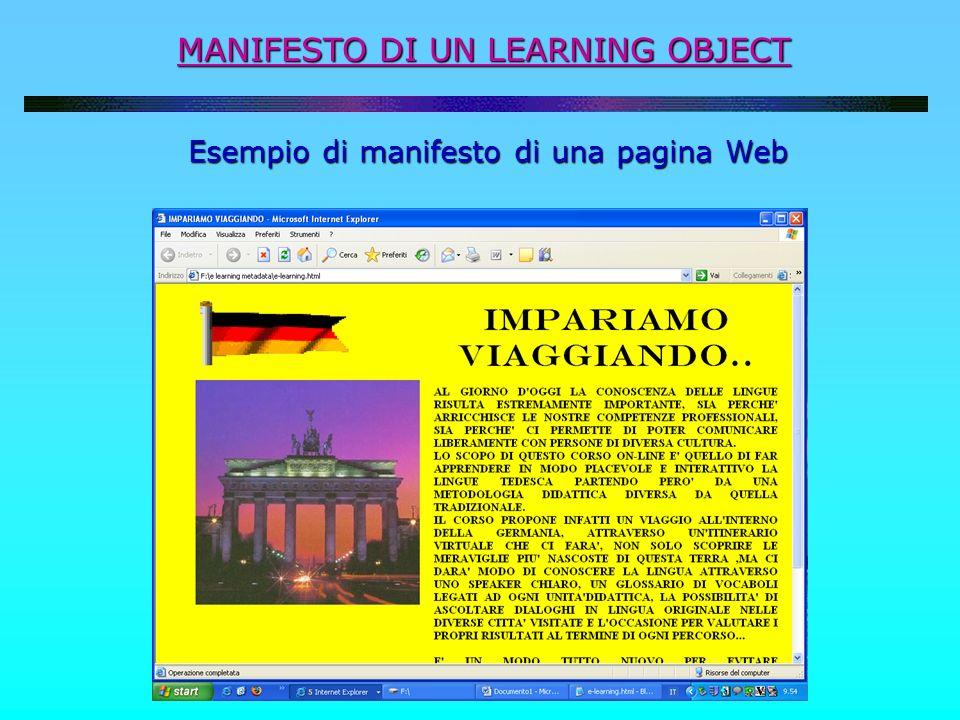 MANIFESTO DI UN LEARNING OBJECT Esempio di manifesto di una pagina Web Esempio di manifesto di una pagina Web
