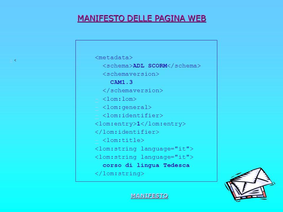 MANIFESTO DELLE PAGINA WEB -- < ADL SCORM CAM1.3 - 1 - corso di lingua Tedesca MANIFESTO