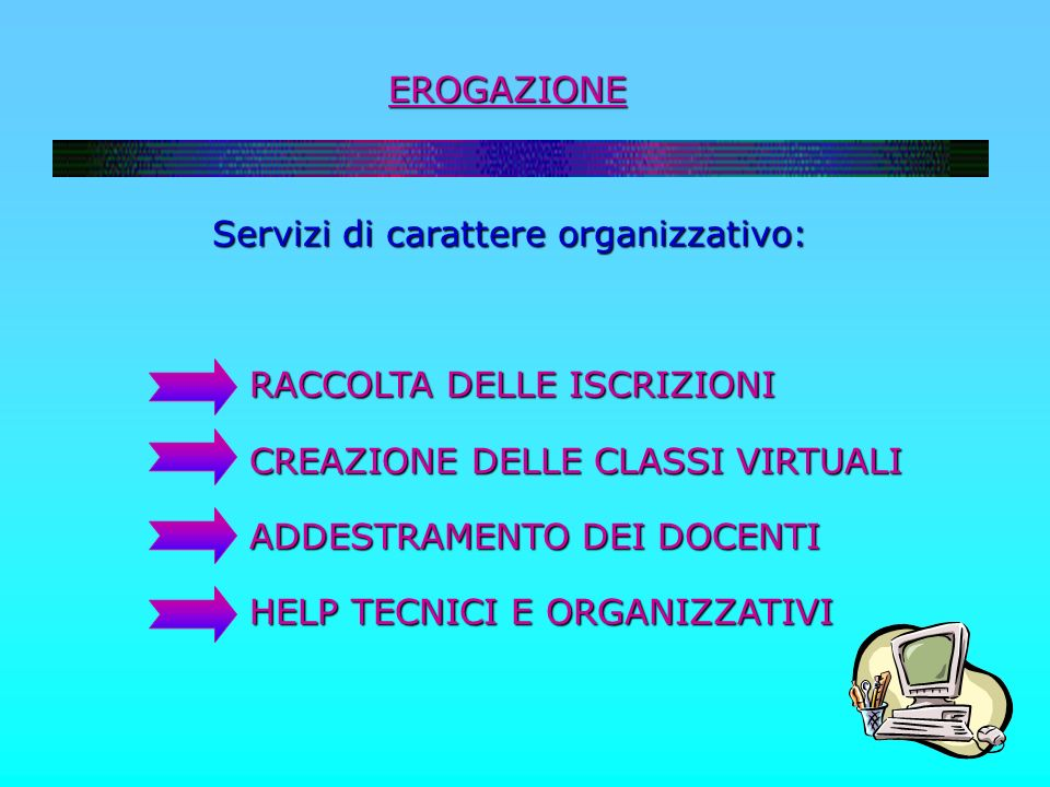EROGAZIONE Servizi di carattere organizzativo: Servizi di carattere organizzativo: RACCOLTA DELLE ISCRIZIONI RACCOLTA DELLE ISCRIZIONI CREAZIONE DELLE