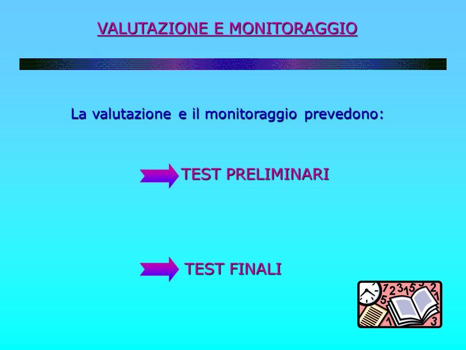VALUTAZIONE E MONITORAGGIO La valutazione e il monitoraggio prevedono: TEST PRELIMINARI TEST PRELIMINARI TEST FINALI TEST FINALI