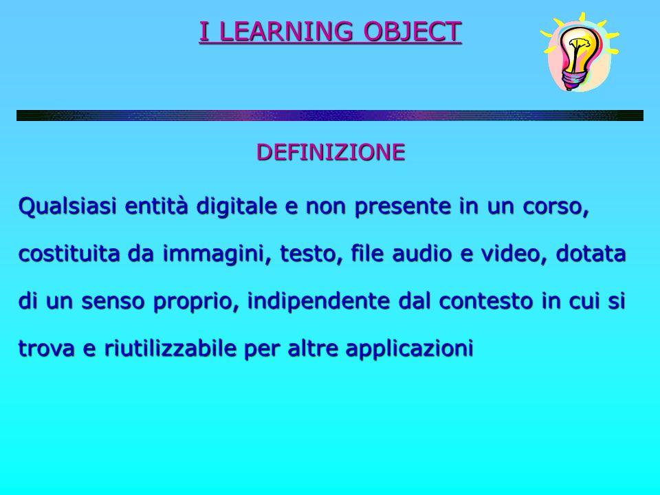 I LEARNING OBJECT DEFINIZIONE Qualsiasi entità digitale e non presente in un corso, costituita da immagini, testo, file audio e video, dotata di un se