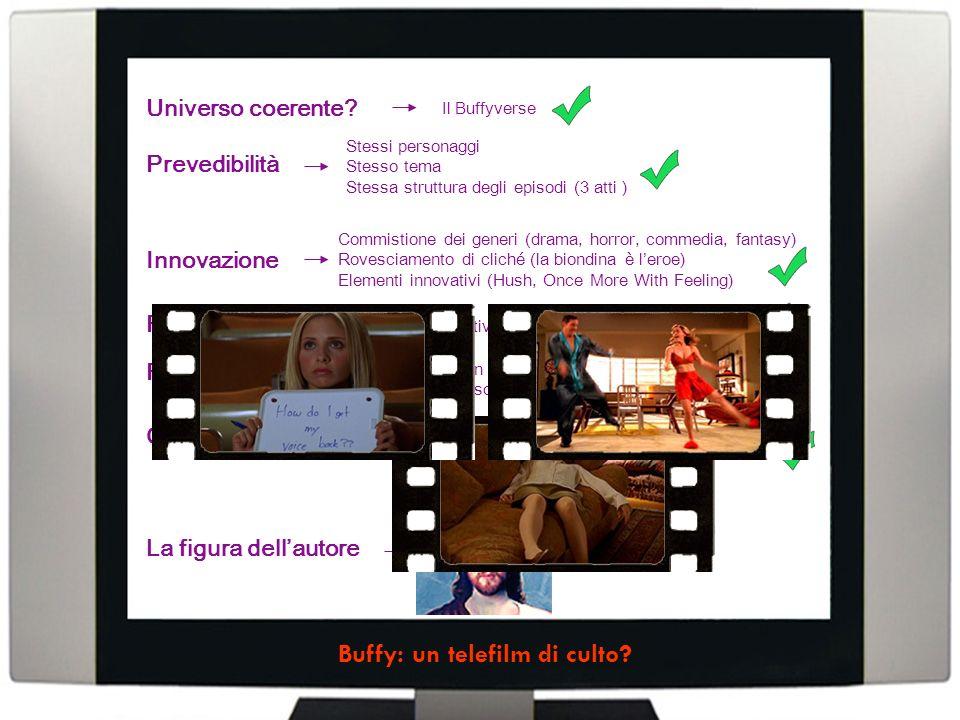 Stessi personaggi Stesso tema Stessa struttura degli episodi (3 atti ) Commistione dei generi (drama, horror, commedia, fantasy) Rovesciamento di cliché (la biondina è leroe) Elementi innovativi (Hush, Once More With Feeling) Più livelli narrativi: lepisodio, la stagione, la serie I fan ritrovano le proprie esperienze Episodi realistici (The Body) Il Buffyverse Universo coerente.