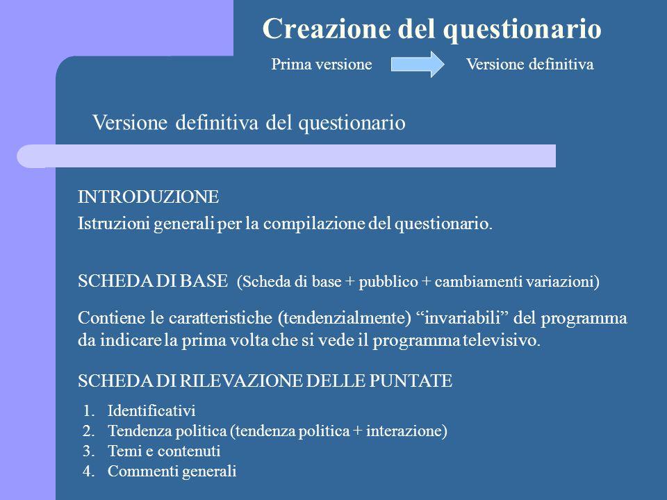 Creazione del questionario Versione definitiva del questionario SCHEDA DI BASE (Scheda di base + pubblico + cambiamenti variazioni) INTRODUZIONE Istruzioni generali per la compilazione del questionario.