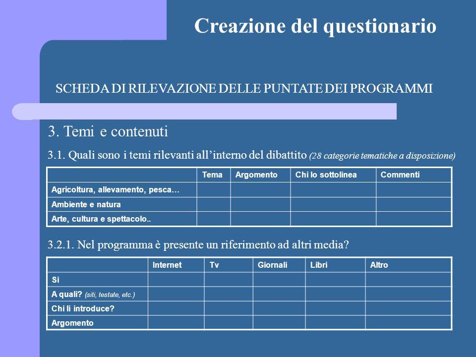 Creazione del questionario SCHEDA DI RILEVAZIONE DELLE PUNTATE DEI PROGRAMMI 3. Temi e contenuti 3.1. Quali sono i temi rilevanti allinterno del dibat