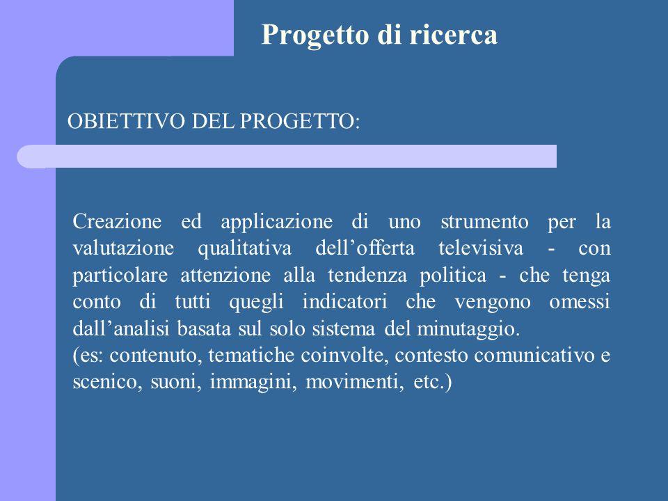 Progetto di ricerca OBIETTIVO DEL PROGETTO: Creazione ed applicazione di uno strumento per la valutazione qualitativa dellofferta televisiva - con par