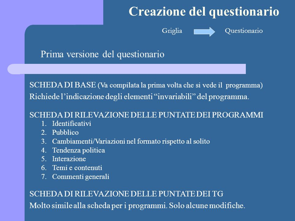 Creazione del questionario GrigliaQuestionario Prima versione del questionario SCHEDA DI BASE (Va compilata la prima volta che si vede il programma) R