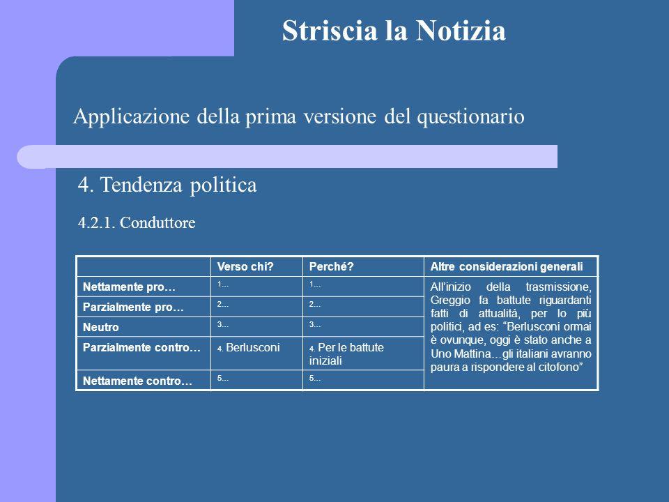 Striscia la Notizia Applicazione della prima versione del questionario 4. Tendenza politica Verso chi?Perché?Altre considerazioni generali Nettamente