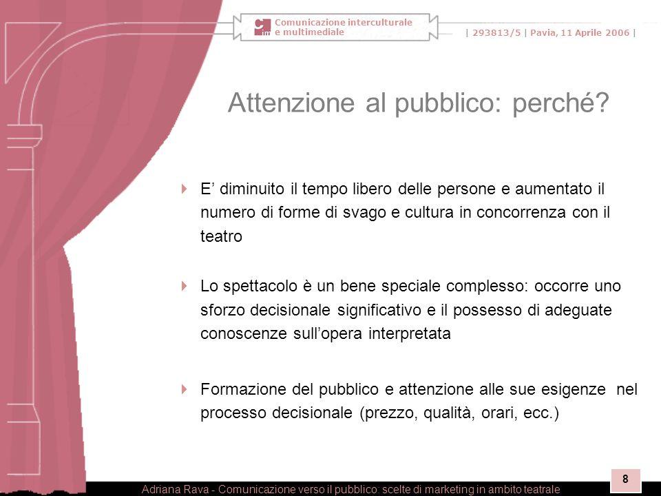 Comunicazione interculturale e multimediale | 293813/5 | Pavia, 11 Aprile 2006 | Adriana Rava - Comunicazione verso il pubblico: scelte di marketing in ambito teatrale 8 Attenzione al pubblico: perché.