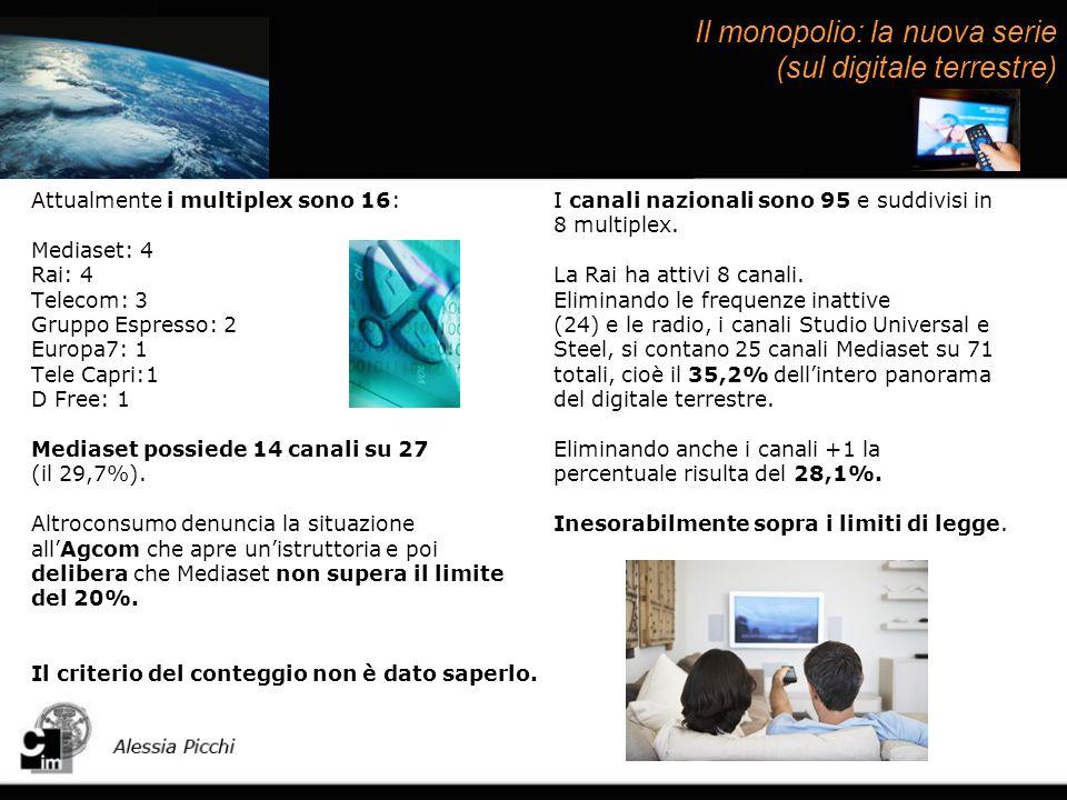 Il monopolio: la nuova serie (sul digitale terrestre) Attualmente i multiplex sono 16: Mediaset: 4 Rai: 4 Telecom: 3 Gruppo Espresso: 2 Europa7: 1 Tele Capri:1 D Free: 1 Mediaset possiede 14 canali su 27 (il 29,7%).