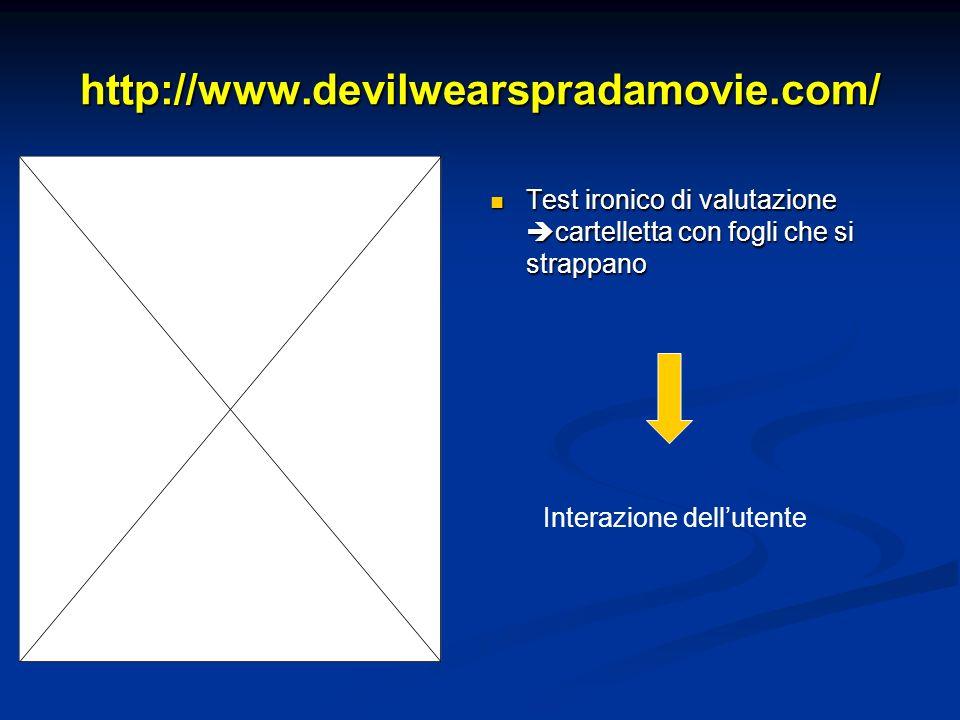 http://www.devilwearspradamovie.com/ Test ironico di valutazione cartelletta con fogli che si strappano Interazione dellutente