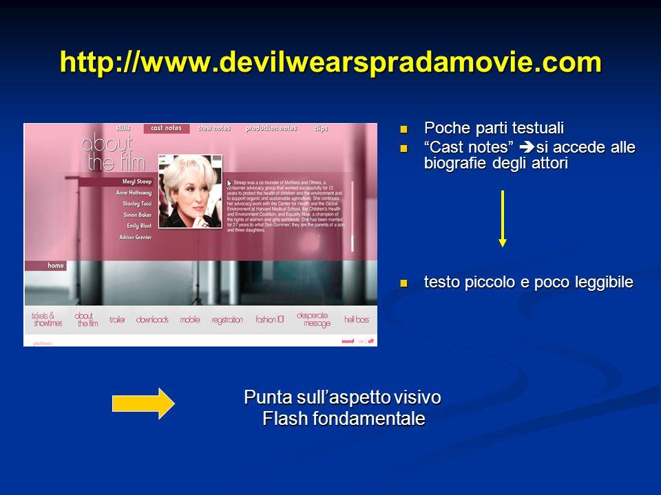 http://www.devilwearspradamovie.com Poche parti testuali Cast notes si accede alle biografie degli attori testo piccolo e poco leggibile Punta sullaspetto visivo Flash fondamentale