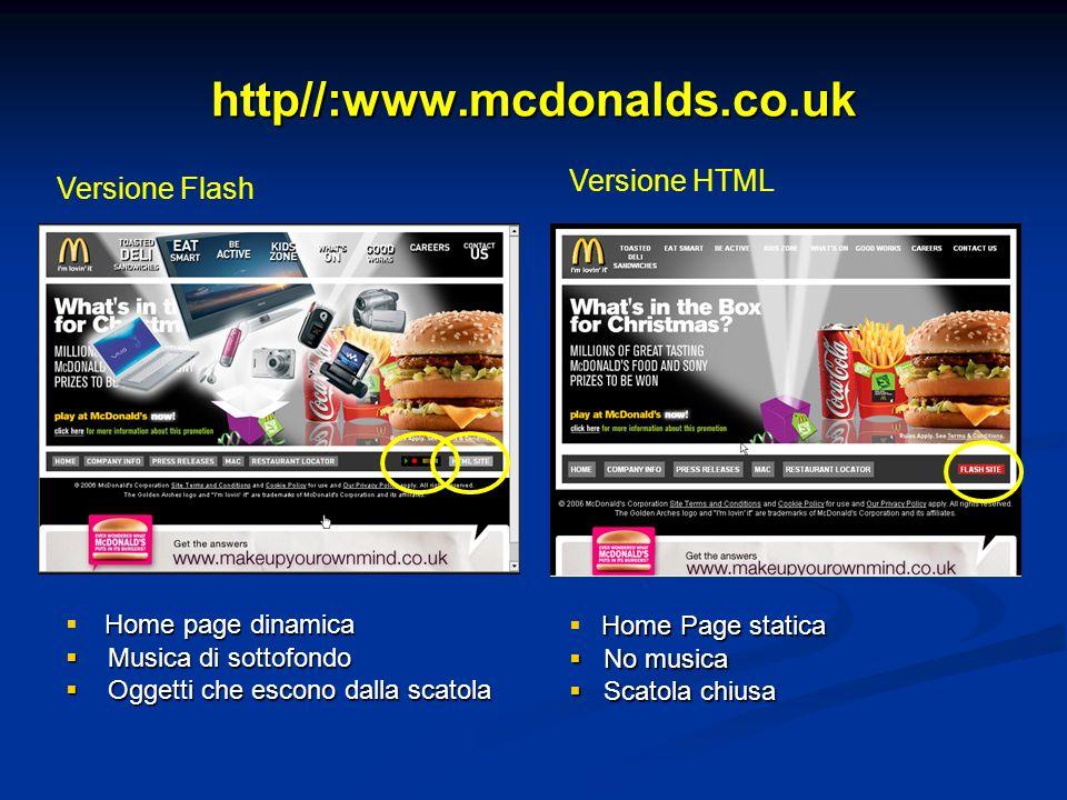 http//:www.mcdonalds.co.uk Versione Flash Versione HTML Home page dinamica Musica di sottofondo Musica di sottofondo Oggetti che escono dalla scatola Oggetti che escono dalla scatola Home Page statica No musica No musica Scatola chiusa Scatola chiusa