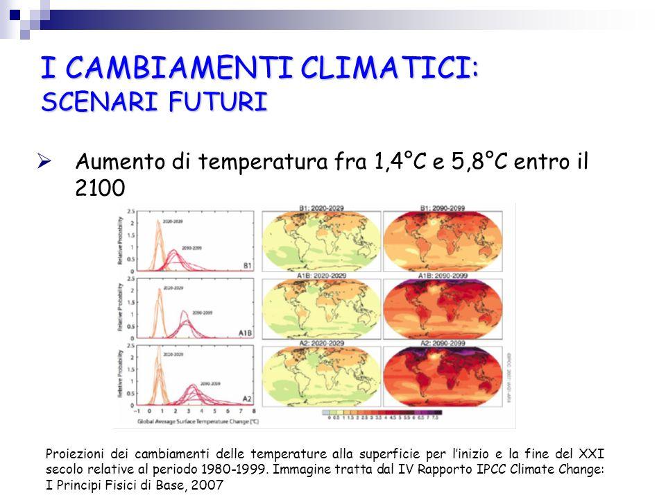 I CAMBIAMENTI CLIMATICI: SCENARI FUTURI Aumento di temperatura fra 1,4°C e 5,8°C entro il 2100 Proiezioni dei cambiamenti delle temperature alla super